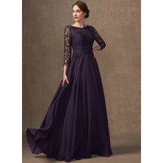 A-Line Scoop Neck Floor-Length Chiffon Lace Mother of the Bride Dress With Beading Sequins (267262408)