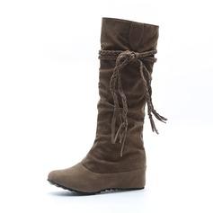 Kvinnor Mocka Kilklack Plattform Kilar Stövlar Knäkickkängor med Bandage skor