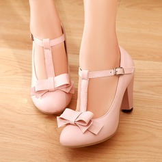 Women's Leatherette Chunky Heel Sandals Pumps Closed Toe With Bowknot Buckle shoes
