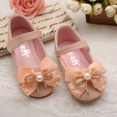 Girl's Leatherette Flat Heel Round Toe Mary Jane Flats With Bowknot Imitation Pearl Velcro Crystal