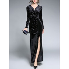 Velvet With Stitching Asymmetrical Dress (199134276)