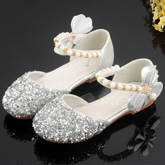 Girl's Round Toe Sparkling Glitter Flower Girl Shoes With Bowknot Crystal Pearl