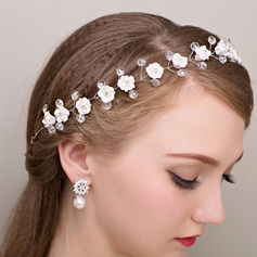 Ladies Romantic Alloy/Silk Flower Headbands
