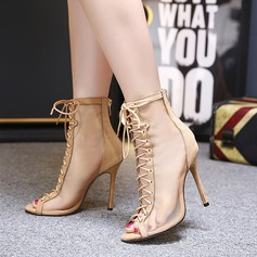 Women's Leatherette Lace Stiletto Heel Boots Peep Toe Ankle Boots With Lace-up shoes (088111796)