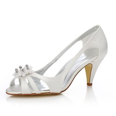 Women's Satin Cone Heel Peep Toe Sandals Dyeable Shoes With Imitation Pearl