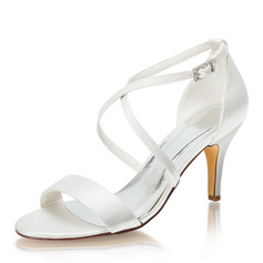 Women's Silk Like Satin Stiletto Heel Peep Toe Sandals With Others