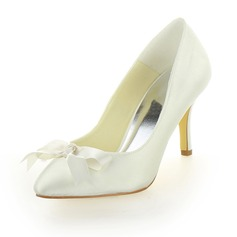 Women's Satin Cone Heel Closed Toe Pumps With Bowknot