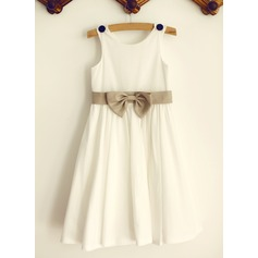 A-Line/Princess Knee-length Flower Girl Dress - Cotton Sleeveless Scoop Neck With Bow(s)