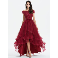 A-Line Off-the-Shoulder Asymmetrical Tulle Homecoming Dress (022205057)