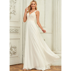 V-neck Sweep Train Chiffon Lace Wedding Dress With Lace (265255743)
