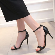 Women's Patent Leather Stiletto Heel Sandals Pumps Peep Toe Slingbacks With Buckle shoes (087111814)
