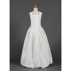 A-Line/Princess Floor-length Flower Girl Dress - Taffeta Sleeveless Square Neckline With Ruffles/Flower(s)