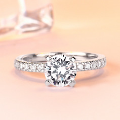 Sterling Silver Cubic Zirconia Dainty Halo Round Cut Engagement Rings Promise Rings (289224764)