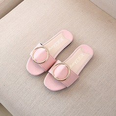 Girl's Peep Toe Leatherette Sparkling Glitter Flats Slippers With Buckle