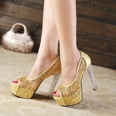 Women's Lace PU Stiletto Heel Pumps Platform Peep Toe With Jewelry Heel shoes