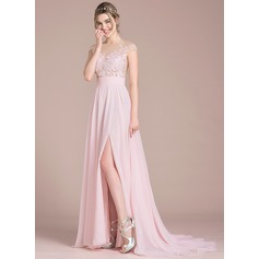 A-Line/Princess Scoop Neck Sweep Train Chiffon Prom Dress With Split Front (018093795)