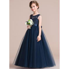 A-Line Floor-length Flower Girl Dress - Satin/Tulle/Lace Sleeveless Scoop Neck With Sash (010106124)