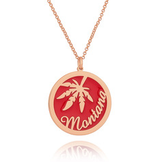 Custom 18k Rose Gold Plated 3D Engraved Necklace Circle Necklace - Birthday Gifts Mother's Day Gifts
