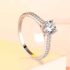 925 Sterling Silver With Round Cubic Zirconia Rings/Engagement Rings For Bride