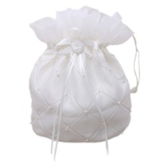Lovely Satin With Flower/Imitation Pearl Bridal Purse