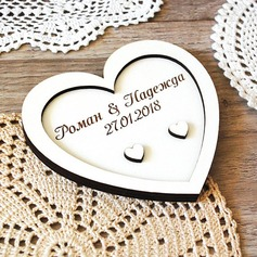 Heart Shaped Wood Ring Holder