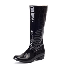 Women's Patent Leather Low Heel Closed Toe Boots Knee High Boots With Zipper shoes