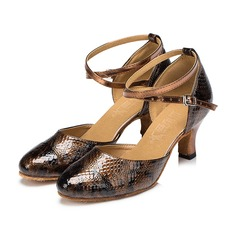 Women's Leatherette Heels Sandals Ballroom With Hollow-out Dance Shoes