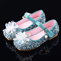 Girl's Round Toe Closed Toe Leatherette Sparkling Glitter Flat Heel Sandals Flats Flower Girl Shoes With Velcro Crystal
