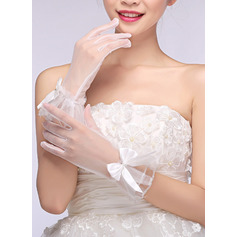 Voile Wrist Length Bridal Gloves With Embroidery