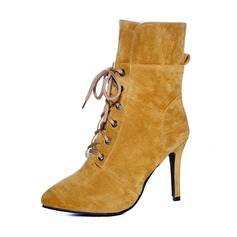 Women's Suede Stiletto Heel Pumps Ankle Boots With Lace-up shoes