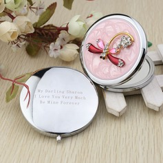 Personalized Dragonfly Design Chrome Compact Mirror With Diamond Rhinestone (118031897)