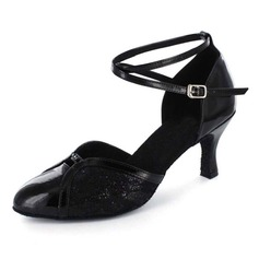 Women's Sparkling Glitter Patent Leather Heels Pumps Modern Ballroom With Ankle Strap Beading Dance Shoes