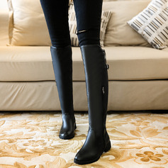 Women's Leatherette Low Heel Over The Knee Boots With Buckle Zipper shoes