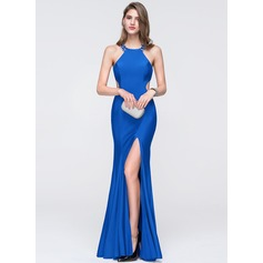 Trumpet/Mermaid Scoop Neck Floor-Length Jersey Prom Dresses With Beading Sequins Split Front