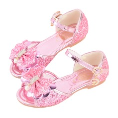 Girl's Peep Toe Leatherette Flat Heel Sandals Flower Girl Shoes With Bowknot Buckle