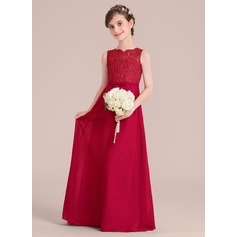 A-Line/Princess Scoop Neck Floor-Length Chiffon Junior Bridesmaid Dress With Bow(s) (009130512)
