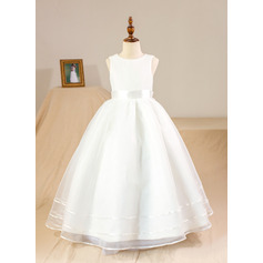 Ball Gown Floor-length Flower Girl Dress - Organza Sleeveless Scoop Neck With Bow(s) (Petticoat NOT included)