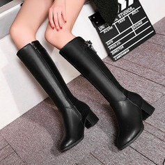 Women's PU Chunky Heel Pumps Boots Knee High Boots With Buckle Zipper shoes