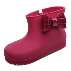 Girl's Plastics Flat Heel Round Toe Closed Toe Rain Boots Boots With Bowknot Velcro