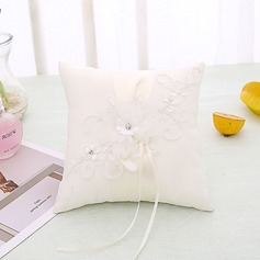 Elegant Rose Ring Pillow in Cloth With Bow/Flowers
