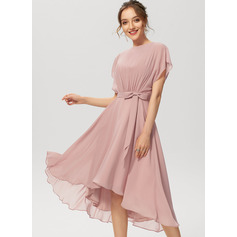 A-Line Scoop Neck Asymmetrical Chiffon Cocktail Dress With Ruffle Bow(s)