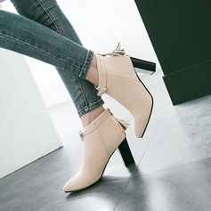 Women's Suede Chunky Heel Pumps Boots With Bowknot Zipper Tassel shoes