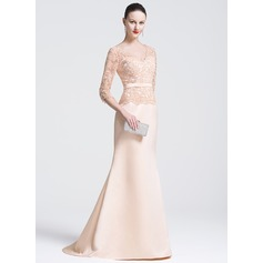 Trumpet/Mermaid V-neck Sweep Train Satin Lace Evening Dress