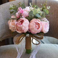 Girly Round Satin Bridal Bouquets/Bridesmaid Bouquets (Sold in a single piece) - Bridal Bouquets