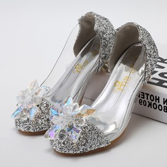 Girl's Leatherette Sparkling Glitter Low Heel Closed Toe Pumps With Rhinestone