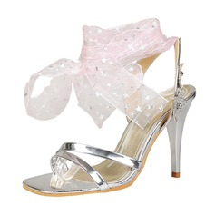 Women's Patent Leather Stiletto Heel Sandals Pumps Peep Toe With Buckle Lace-up shoes