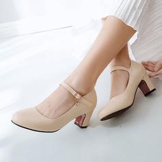 المرأة جلدي كعب مكتنز مضخات تو مغلقة مع دانتيل أحذية
