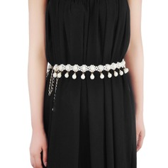 Classic Alloy Belt With Imitation Pearls