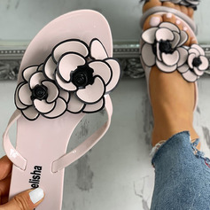 Women's PVC Flat Heel Sandals Flip-Flops Slippers With Flower shoes (087236308)
