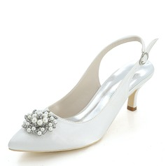 Women's Silk Like Satin Stiletto Heel Pumps With Pearl